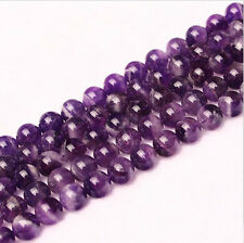 Lots Round Natural Amethyst Jewelry Making loose Gemstone beads Stone strand 15""