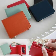 Genuine Leather Zip Coin Pocket Small Bifold Wallet Purse ID Card Bill Holder