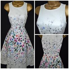 NEW MONSOON TEA DRESS RETRO 50'S PROM FLORAL IVORY CORAL COTTON 8 - 22