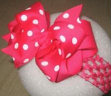 Girls Boutique Hairbows, Shocking Pink Dots Hair Bow, Double Layer Big Hair Bows
