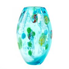 Blue floral glass vase by Accent Plus U pick style Bow Vase or Straight Vase