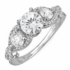 3 Stone Diamond 2.73 Carat Round Shape GIA VS1 Engagement Ring Antique Style
