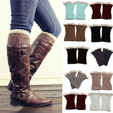 1pair Women Crochet Knit Lace Trim Leg Warmers Cuffs Toppers Boot Ankle Tube