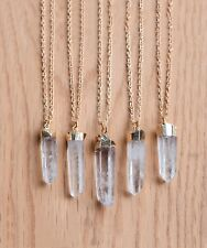 Raw Clear Quartz Crystal Stone Necklace-Aura Boho Gold Silver-Gift Jewellery