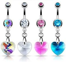 Surgical Steel Crystal Prism Heart Dangle Belly Piercing Bar / Navel Ring