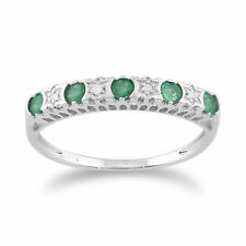 9ct White Gold 0.27ct Natural Emerald & 2pt Diamond Half Eternity Band Ring
