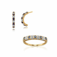 Gemondo 9ct Yellow Gold Sapphire & Diamond Half Hoop Earring & Ring Set