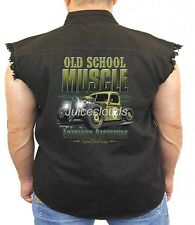 Classic Car Denim Vest Old School Muscle Outlaw Garage Hot Rod Biker Wear