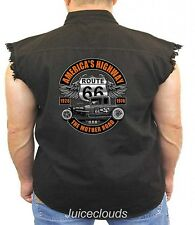 Classic Car Denim Vest Americas Highway Route 66 Mother Road Hot Rod Biker Wear