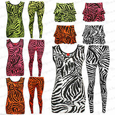 New Ladies Womens Stretchy Zebra Top & Leggings Ladies Zebra Print Bodycon Dress