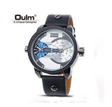 OULM Watches Men Military Dual Time Zone Leather Band Quartz Sports Wristwatch