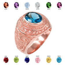 Solid 14k Rose Gold US Navy Men's CZ Birthstone Ring