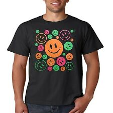 Ladies Women's Girl's Cool Neon T-Shirt: Smiley Face Peace Sign Love Woodstock