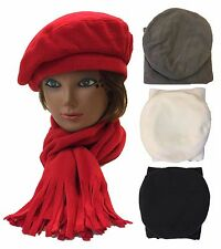 Ladies Women Winter Fleece Beret Scarf 2 PCS Gift Set Beret Scarf Hat Cap