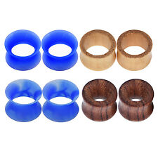 4pair Woode&Silicone Ear Plug Hollow Tunnel Ear Expander Ear Gauge Body Piercing