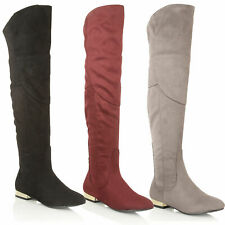 Dolcis Ladies Faux Suede Over The Knee High Sexy Thigh High Side Zip Flat Boots