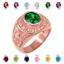 Solid 10k Rose Gold US Army Men's CZ Birthstone Ring