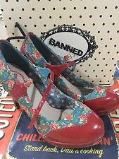 Banned Roses Red Strappy Rose High Heels Red Mary Jane Rockabilly Size 6