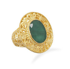 925 Sterling Silver Ornate 14 Karat Gold Plated Rough-Cut Emerald Ring