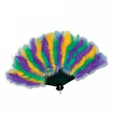 Club Pack of 12 Festive Green, Gold and Purple Mardi Gras Feather Fan Party Acce