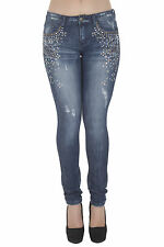 1A6298JS - Women's Juniors Low Rise Distressed Embellished Premium Skinny Jeans