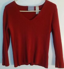First Issue Liz Claiborne Small Red Long Sleeve Casual Faded Blouse Knit Shirt