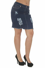 N1221SKT - Women's Juniors Destroyed, Ripped, Fun and Sexy Denim Mini Skirt