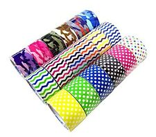 Basic 18 Roll Variety Pack Decorative Duct Style Tape (Polka-dot, Chevron, and