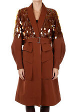 DRIES VAN NOTEN New Woman brown Cotton silk blend coat paillettes NWT