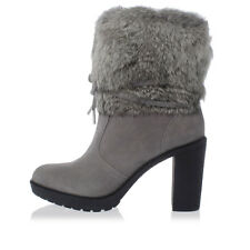 MICHAEL KORS New Woman Grey Leather Real Fur Rabbit Boots Scarpe NWT