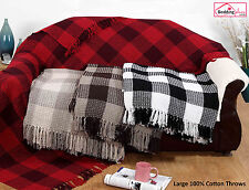 LARGE 100% Cotton 2 Tone Check Woven Sofa / Bed Throw Blanket 4 Colours