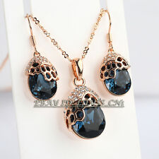 Rhinestone Simulated Sapphire Earrings Necklace Jewelry Set 18KGP Crystal