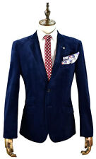 MENS VELVET NAVY BLUE & WINE JACKET BLAZER SLIM FIT SIZE: 36-52