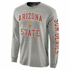 Arizona State Sun Devils Gray Distressed Arch Over Logo Long Sleeve Hit T-Shirt