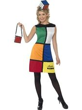 SALE! Adult 80s Retro Rubiks Cube Puzzle Ladies Fancy Dress Costume Party Outfit