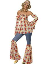 NEW Adult Vintage Groovy Hippy 1970s Ladies Fancy Dress Hen Party Costume Outfit
