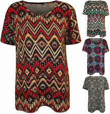 New Plus Size Womens Print Short Sleeve T-Shirt Ladies Scoop Neck Top 14 - 28