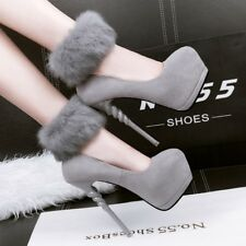 Sexy Hairy Ankle Strap Suede Platform Pumps Spiral Super High Heels Womens Shoes