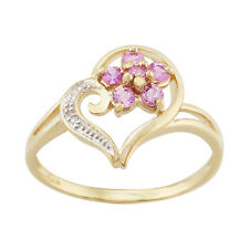 9ct Yellow Gold 0.29ct Pink Sapphire & Diamond Floral Heart Ring