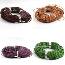 15Pcs DIY Mixed Round Real Leather Cord Necklace Without Clasp 2mm Jewelry Cords