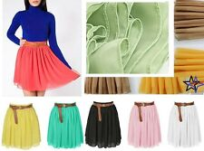 Fashion Summer Above Knee Waist Pleated Double-layer Chiffon Short Skirt *Sht ch