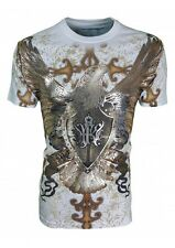 KONFLIC GRAPHIC T-SHIRT Vintage Eagle Shield { White } Silver Foil Trim MMA
