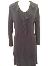 Susan Lawrence 1X Black Sweater Dress Ruffled V-Neck Long Sleeve