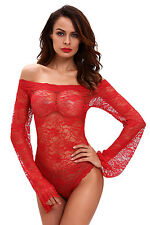 Red Sexy Lace Off-shoulder Long Bell Sleeve One Piece Lingerie Bodysuit Teddy