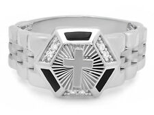 18mm Sterling Silver Hexagon w/Cross & CZs Jubilee-Style Band Ring