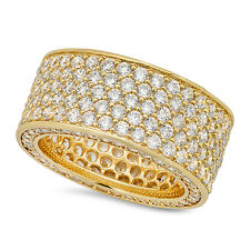 Mens 14K Gold Plated Micro Pave Hip Hop Bling Iced Out CZ Pinky Ring Size 7-12