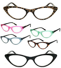 1 or 3 Pair(s) Retro Woman Cat Eye Full Lens Reading Glasses SpringTemple