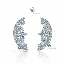 18k white yellow gold gf made with SWAROVSKI crystal stud earrings 925 silver