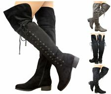 Women's Thigh High Lace Up Over the Knee Foldover Low Heel Faux Suede Boots
