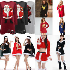 Santa Claus Deer ELK Print Women Shirt Dress Christmas Hat Uniform Cosplay Dress